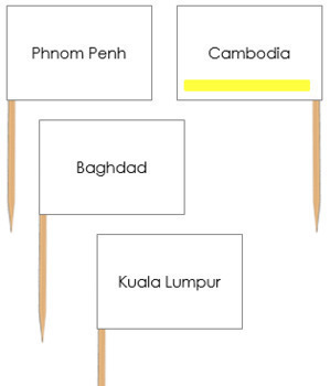 Asia Capital City Labels - Pin Map Flags (color-coded)