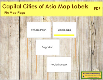 Asian Capital City Labels - Pin Map Flags (color-coded)