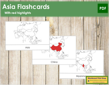 Asia Flash Cards (Red)