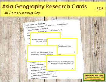 Asia Geography Research Cards (color borders)