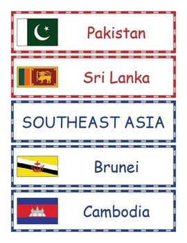 Asia Geography - Asian Countries Word Wall