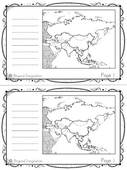 Asia Continent Booklet | 48 Pages for Differentiated Learning + Bonus Pages