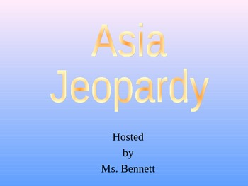 Asia Jeopardy Game