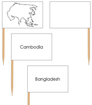 Asia Map Labels - Pin Map Flags