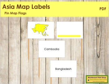 Asia Map Labels - Pin Map Flags (color-coded)