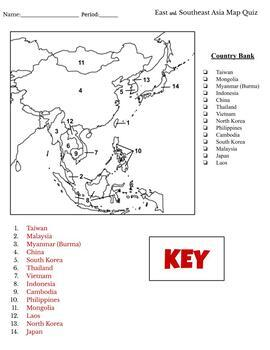 Asia Map Quizzes (South, East and Southeast Asia)