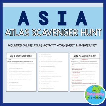 atlas scavenger hunt Asia Online World Atlas Scavenger Hunt by The Geography Classroom