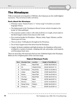Asia: Physical Features: The Himalayas