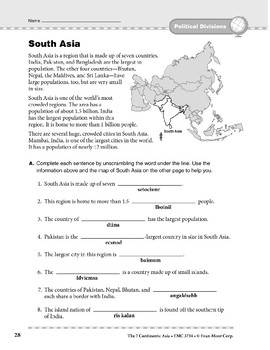Asia: Political Divisions: South Asia