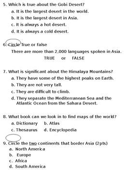 Asia Quiz (SOL 3.6)