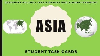 Asia Task Cards - Multiple Intelligences and Blooms Taxonomy