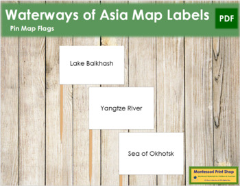 Asia Waterways Map Labels - Pin Map Flags