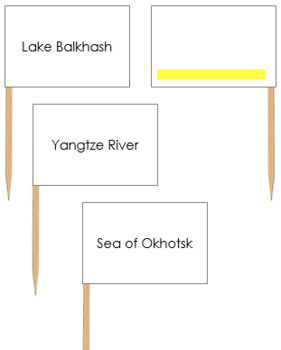 Asian Waterways Map Labels - Pin Map Flags (color-coded)