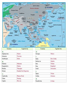 Asia and the Middle East Labeling Map