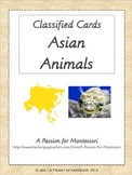 Asian Animals, 28 Three Part Cards, Asia Continent Box, Montessori