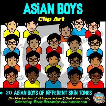 Asian BOYS Heads & Shoulders Clip Art Set for Teachers
