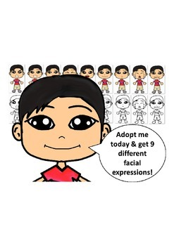 Asian Boy in a Red Shirt with Nine Different Facial Expressions