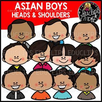 Asian Boys Heads & Shoulders Clip Art Set {Educlips Clipart}