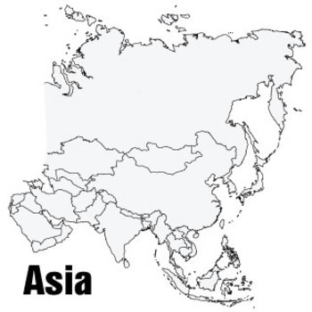 Asian Continent Wall Map (3x3ft)