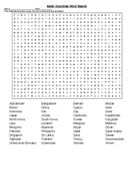 Asian Countries Crossword and Word Search with KEYs