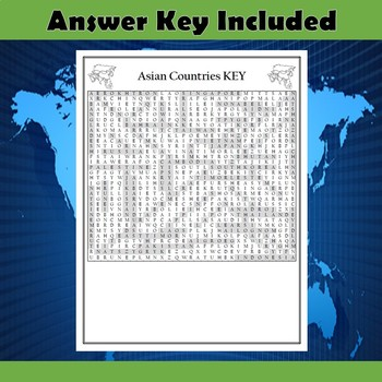Asian Countries Word Search Puzzle Differentiated 2-Pack