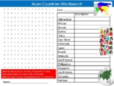 Asian Countries Wordsearch Puzzle Sheet Keywords Geography