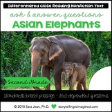 Asian Elephants Reading Comprehension Passage & Questions Nonfiction Text