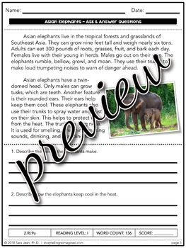 Asian Elephants Reading Comprehension Passage & Questions Nonfiction Text