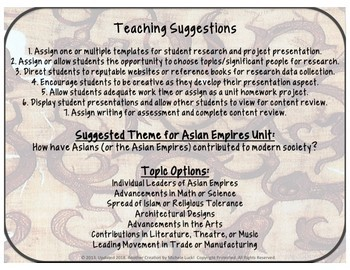 Asian Empires Research and Report Templates w/Teaching Suggestions