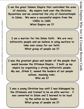 Asian Empires Who Am I Cards W/ Real World Analysis Questions