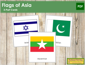 Asian Flags: 3-Part Cards
