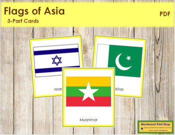 Asian Flags: 3-Part Cards (color borders)
