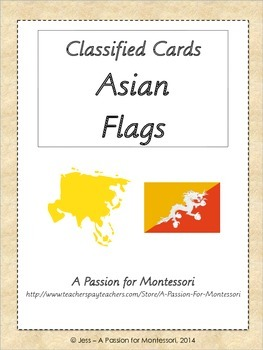 Asian Flags, 44 three part cards, Asia continent box, Mont