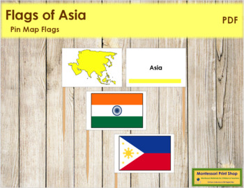 Asian Flags - Pin Map Flags (color-coded)