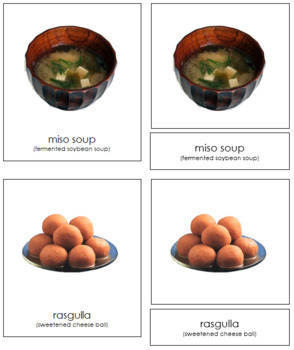 Asian Food: 3-Part Cards