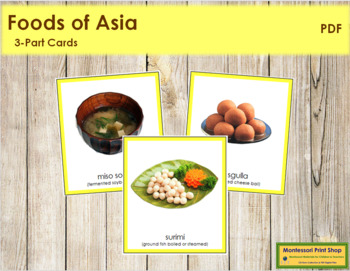 Asian Food: 3-Part Cards (color borders)