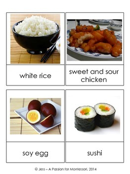 Asian Foods, 20 Three Part Cards, Asia Continent Box, Montessori