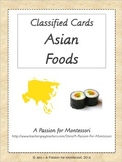 Asian Foods, 20 Three Part Cards, Asia Continent Box, Montessori