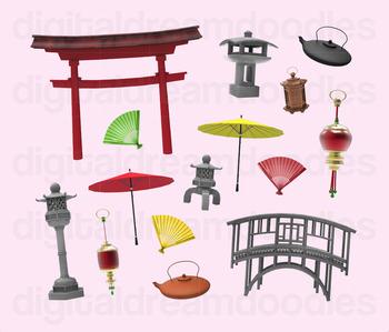 Asian Garden Clip Art - Japanese Gate and Stone Sculpture Digital PNG Graphics