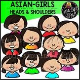 Asian Girls Heads & Shoulders Clip Art Set {Educlips Clipart}