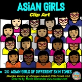 Asian GIRLS Heads & Shoulders Clip Art Set for Teachers