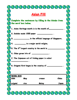 Asian Heritage Activity Booklet