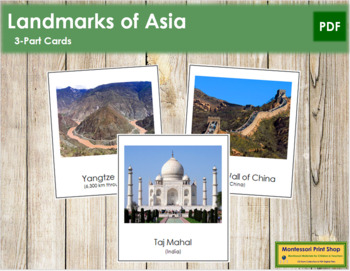 Asian Landmarks: 3-Part Cards