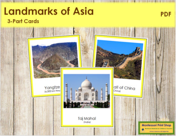 Asian Landmarks: 3-Part Cards (color borders)