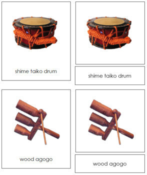 Asian Musical Instruments: 3-Part Cards