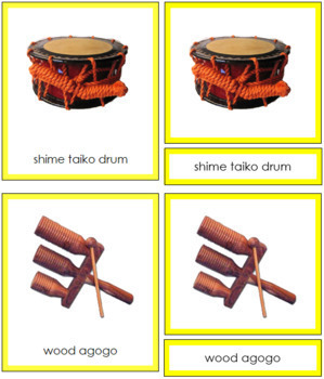 Asian Musical Instruments: 3-Part Cards (color borders)