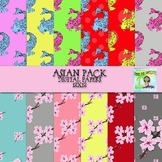 Asian Themed Pack Digital Papers and Clipart