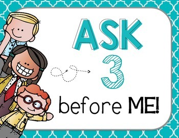 "FREEBIE ""Ask 3 Before Me"" Posters, Cool Blues {Bilingual}"