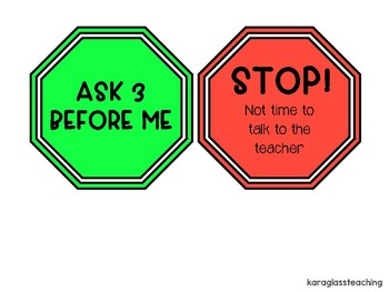 Ask 3 Before Me Teacher Tag