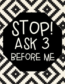 Ask 3 before me sign